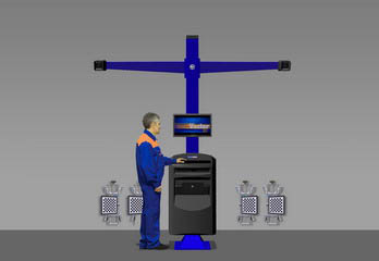 Компьютерный стенд для измерения углов установки колес по технологии 3D. 7212Т